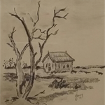 Remote Bush Church, Charcoal on paper, Original Art 17x24cm, Framed 31x37cm