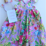 Size 8 - Pretty Lilac Floral Girl Tea Party Dress, Girl