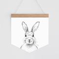 Wall Banner - Dot Monochrome Bunny. Wall hanging.