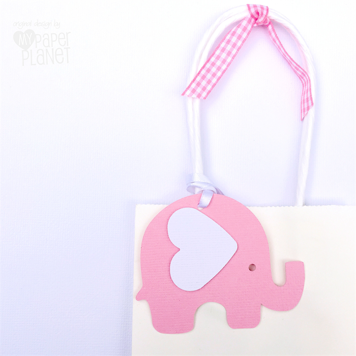 Pink white elephant baby shower gift tags baby girl first birthday party my paper planet for Baby shower gift tags