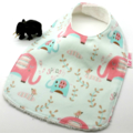 Baby Dribble Feeder Bib Pink Elephant Cotton Fabric Bamboo Toweling Adjustable