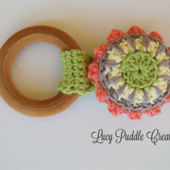 Organic wooden crochet teething ring