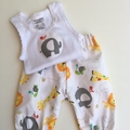 """Size 0000 - """"Zoo Animals"""" - Harem Pants and Appliqued Singlet"""