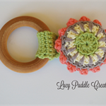 Organic wooden crochet teething ring
