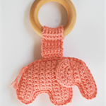 Organic natural wooden crochet elephant teething ring