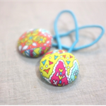 hair ties / red pink aqua yellow paisley / Liberty of London fabric buttons