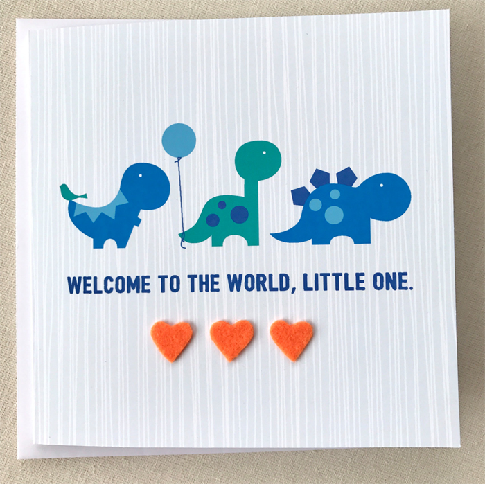 new baby card dinosaur card newborn baby boy card - New Born Baby Card