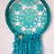 Dreamcatcher - beautiful teal dream catcher with wooden heart decoration - mobil