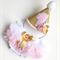 Gold Glitter party hat and Bloomers. 1st Birthday set. Birthday Girl