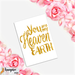 Baby Wall Art Typography Print, Gold on White, Heaven On Earth