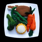 CHOP AND VEGETABLES DINNER MEAL FELT FOOD