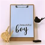 Blue Beautiful Boy A4 Print Wall Art Nursery