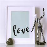 Mint Green Love A4 Print Wall Art Nursery