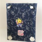 Blue patterned flower fabric covered diary