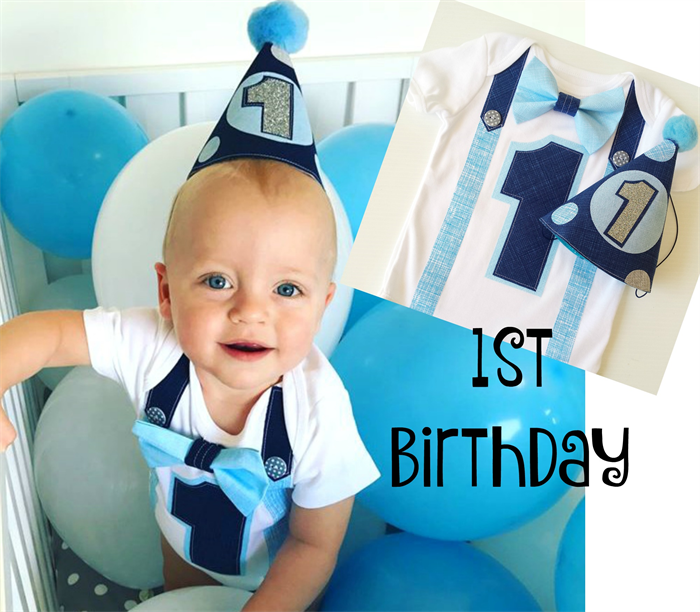 Baby Boys Classic Navy And Sky Blue 1st Birthday Onesie Party Hat
