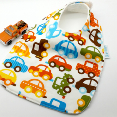 Infant Dribble Bib Cars on Cotton Fabric, Bamboo Toweling, Snap Fastened.