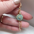 Czech Turquoise Dahlia Flower and Gold Rhinestone Crystal Earrings on Nickel Fre