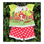 Gnome blouse, red polka dot shorts, Gnomeville fabric, garden gnome, size 3