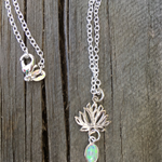 925 Sterling Silver Dainty Green Opal Gemstone Lotus Necklace