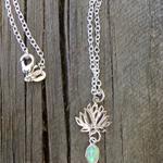 925 Sterling Silver Dainty Green Opal Gemstone Lotus Necklace