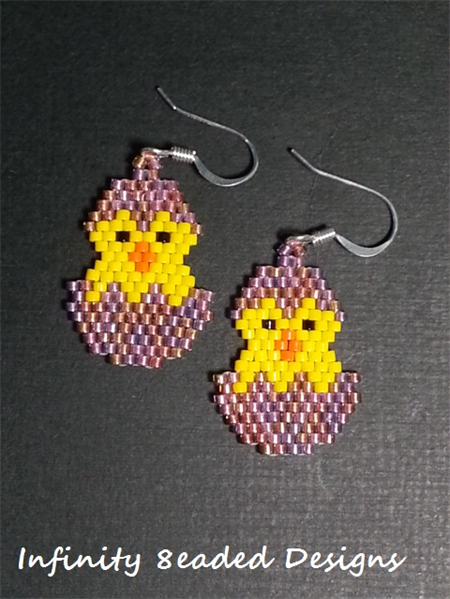 Easter Chicken Beaded Earrings