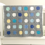 Crochet blanket, grey, circuits, acrylic yarn, decor, blue, newborn gift
