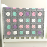 Crochet blanket, grey, circuits, acrylic yarn, decor, pastel pink, newborn gift