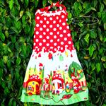 Girl size 6, Halter Dress, backless full skirt, gnome home mushroom, polka dots