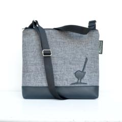 Large size 'Jodi' bag. Black vinyl, grey fabric front with black wren feature.