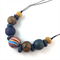 Handcrafted Polymer Clay long or short adjustable necklace- indigo and gold