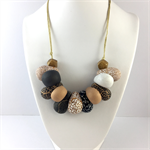 Handcrafted Polymer Clay long or short adjustable necklace- black and gold