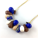 Handcrafted Clay long or short adjustable necklace- cobalt and natural tones