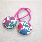 hair ties / red cream green magenta blue / Liberty of London fabric buttons