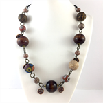 Handcrafted Polymer Clay long or short adjustable necklace- natural tones