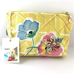 Cosmetics case / wash bag with detachable flower brooch- Yellow kimono fabric