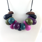 Handcrafted Polymer Clay long or short adjustable necklace- Tropical tones