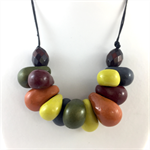 Handcrafted Polymer Clay long or short adjustable necklace- Autumn tones