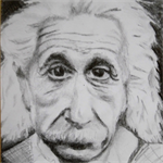 """Deep In Thought"" Original Pencil Drawing of Einstein"