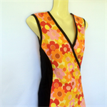 Ladies 16 to 18 Orange Daisy Wrap Dress -retro, floral, flower