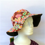 Retro Brown Floral Reversible Sun Hat - Girls / Ladies sizes, bucket, flower
