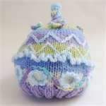 Embellished knit hat for baby from 0 - 3 months.