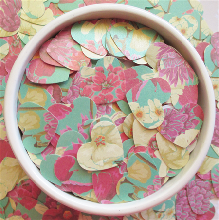 Pink, Purple, Red, Yellow and Green Floral Heart Table Scatters (300 Hearts)