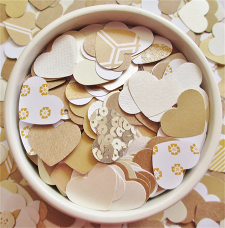 Gold, Cream, White and Brown Heart Table Scatters (300 Hearts)