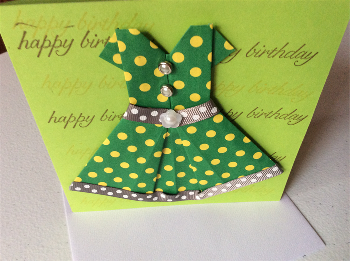 Female birthday cards/children's birthday cards. Origami dress ... | 522x700
