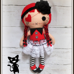 Gothic doll, Rag doll, Cloth doll, Fabric doll