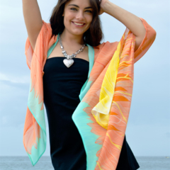 Silk Scarf, Shawl, Vest, Sarong - Wearable Art Resort wear