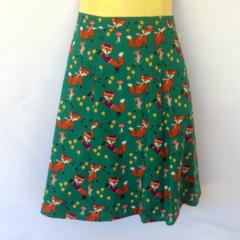 Green Ladies A Line Skirt - ladies sizes avail - retro woodland animal fox print