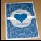 Female Happy Birthday card - blue swirls