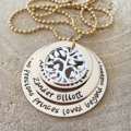 Personalised Jewellery, Hand Stamped Gold Necklace, Mothers Day Gift