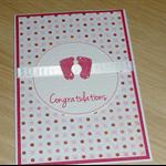 Baby Girl Card - little pink feet